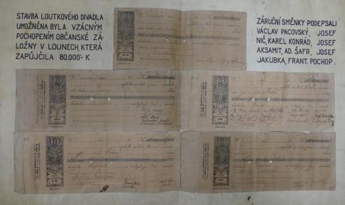 Záruční směnky na půjčku z roku 1920